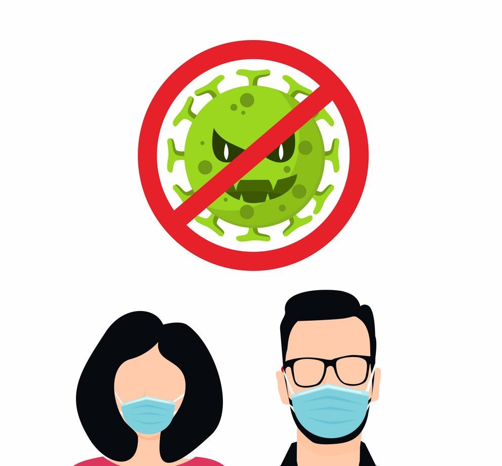 COVID-19 coronavirus 2019-nCoV concept. man and woman wear surgical masks Vector illustration
